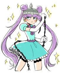 1girl angry blue_dress blue_eyes chains double_bun dress earrings facial_mark guuuunya_(kay072527) helmet jewelry long_hair mina_loveberry puffy_short_sleeves puffy_sleeves purple_hair short_sleeves solo sparkle spiked_helmet star_vs_the_forces_of_evil twintails very_long_hair
