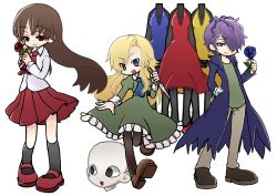1boy 2girls blonde_hair blue_rose brown_hair dress flower garry_(ib) ib ib_(ib) ichinose_natsuki long_coat long_hair mannequin mary_(ib) multiple_girls purple_hair puyopuyo puyopuyo_fever red_rose rose skirt yellow_rose