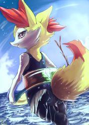 braixen float lifebuoy looking_back pokemon pokemon_(game) sea swimsuit tagme twig