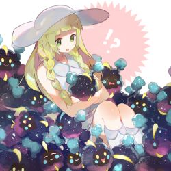!? >_< 1girl ^_^ blonde_hair blush braid collared_dress cosmog dress eyes_closed green_eyes hat kneehighs lillie_(pokemon) long_hair namie-kun open_mouth pokemon pokemon_(creature) pokemon_(game) pokemon_sm see-through simple_background sleeveless sleeveless_dress smile solo sun_hat sundress too_many twin_braids white_background white_dress white_hat white_legwear