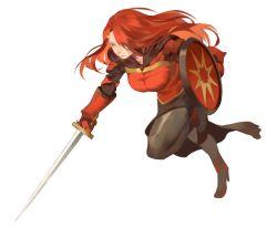 1girl black_legwear cape dress hair_over_one_eye long_hair pixiv_fantasia pixiv_fantasia_fallen_kings red_eyes red_hair rei_(sanbonzakura) shield solo sword weapon