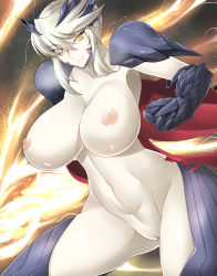 1girl absurdres areolae armor artoria_pendragon_alter_(fate/grand_order) blonde_hair breasts fate/grand_order fate_(series) haganef huge_breasts lancer_artoria large_filesize looking_at_viewer navel nipples pale_skin pussy saber saber_alter short_hair smile solo thighs uncensored yellow_eyes