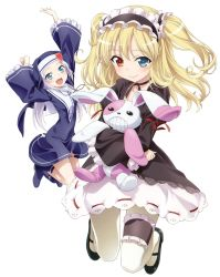 2girls :d absurdres blonde_hair blue_eyes blush boku_wa_tomodachi_ga_sukunai boots choker cover dress dvd_cover fang garters hairband hasegawa_kobato heart heterochromia highres jewelry jumping lolita_fashion lolita_hairband long_hair mary_janes multiple_girls necklace nun official_art open_mouth pantyhose red_eyes ribbon_choker shoes simple_background smile stuffed_animal stuffed_bunny stuffed_toy takayama_maria two_side_up watanabe_yoshihiro white_background white_hair white_legwear wide_sleeves