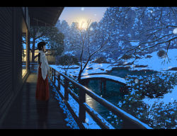 1girl architecture bangs bare_tree black_hair bow bridge east_asian_architecture from_side hair_bow hakama_skirt japanese_clothes letterboxed long_hair long_skirt miko nauimusuka original payot ponytail profile railing ribbon-trimmed_sleeves ribbon_trim ripples shadow skirt snow snowing solo standing sunset tree water wide_sleeves