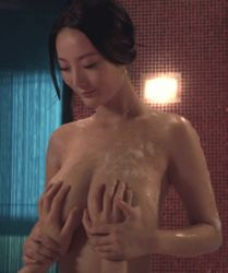 1boy 1girl animated animated_gif asian black_hair breast_grab breasts head_out_of_frame photo soap topless wet