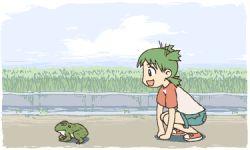 animal animated animated_gif child female frog green_hair happy hopping koiwai_yotsuba short_hair shorts yotsubato!
