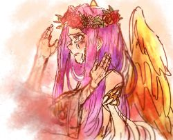 bare_shoulders blush fate/grand_order fate_(series) flower gorgon_(fate) long_hair purple_eyes purple_hair rider rose scales tears wide_sleeves wings