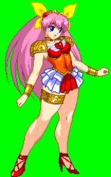 animated animated_gif hanasaki_momoko jyb long_hair lowres m.u.g.e.n pink_hair ribbon very_long_hair wedding_peach