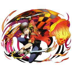 1boy armband blonde_hair cabbie_hat denim divine_gate dual_wielding full_body hat jacket jeans leonardo_(divine_gate) looking_at_viewer male_focus official_art one_knee paintbrush pants red_jacket short_hair skeleton sleeves_rolled_up solo squatting transparent_background ucmm yellow_eyes