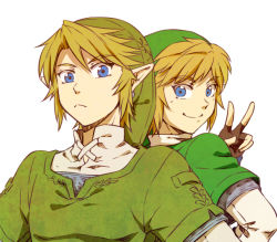 back-to-back blonde_hair blue_eyes dual_persona gloves hat link pointy_ears saiba_(henrietta) skyward_sword smile the_legend_of_zelda twilight_princess v