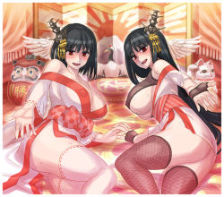 2girls areolae ass bird black_hair blush breasts cleavage come_hither crane_(animal) curvy daruma_doll erect_nipples fishnet_legwear fishnets fusou_(kantai_collection) hair_ornament hand_holding japanese_clothes kantai_collection kimono large_breasts long_hair looking_at_viewer lying maneki-neko mimonel multiple_girls on_side open_mouth outstretched_hand patriotism red_eyes ribbon-trimmed_legwear ribbon-trimmed_sleeves ribbon_trim rising_sun short_hair smile sweat thighhighs underboob yamashiro_(kantai_collection) yukata