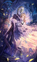 1boy 1girl 369minmin blonde_hair carrying clock dress dutch_angle long_hair original petals princess_carry scenery