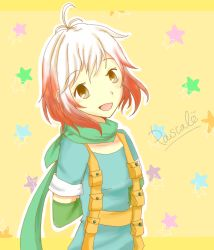 1girl :d antenna_hair artist_request brown_eyes happy highlights looking_at_viewer multicolored_hair open_mouth pascal_(tales) red_hair scarf short_hair smile star tales_of_(series) tales_of_graces tales_of_graces_f white_hair