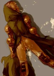 1girl aftersex armor ass blonde_hair boots bottomless branch_(blackrabbits) cloak cum cum_in_mouth cum_in_pussy cumdrip final_fantasy final_fantasy_tactics lying meliadoul_tengille on_stomach pussy tears uncensored