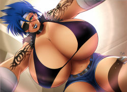 1girl artist_request blue_hair breasts character_request cleavage eyepatch from_below gigantic_breasts green_eyes huge_breasts lipstick looking_at_viewer pov short_hair shorts solo tattoos