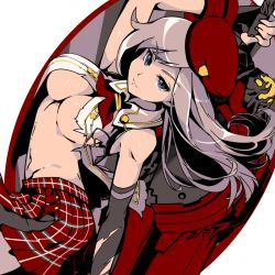 1girl alisa_ilinichina_amiella arm_up black_gloves blue_eyes breasts brown_hair fingerless_gloves gloves god_eater god_eater_2 hat huge_weapon long_hair plaid plaid_skirt skirt solo torn_clothes transpot_nonoko underboob weapon white_background