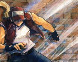 1boy baseball_cap blonde_hair brick_wall denim doraeshi fatal_fury fingerless_gloves gloves hat hat_over_eyes jeans king_of_fighters long_hair male muscle pants ponytail solo tank_top terry_bogard vest