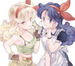 apron blonde_hair blue_eyes blue_hair breasts curly_hair dragon_ball drawr dress dual_persona fingerless_gloves gloves green_eyes hair_ornament hair_ribbon hand_on_hip hand_on_own_face holding johnny johnny_(nana) long_hair looking_at_viewer lunch_(dragon_ball) midriff puffy_short_sleeves puffy_sleeves ribbon short_sleeves shorts simple_background smile tank_top white_background