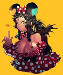 +_+ 1girl animal_ears bare_shoulders black_hair bow bowtie breasts cleavage demon_wings dress facial_mark gradient_eyes green_eyes highres index_finger_raised large_breasts lips long_hair mouse_ears multicolored multicolored_eyes nail_polish original parted_lips pigeon666 polka_dot polka_dot_ribbon ponytail red_dress short_hair_with_long_locks simple_background solo strap wings yellow_background