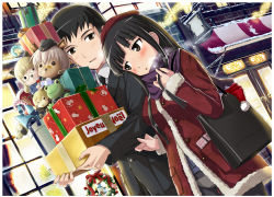 >_o 1boy 1girl alternate_costume animal_ears awning bag bandaid bandaid_on_nose bangs black_jacket black_legwear black_necktie blunt_bangs blush blush_stickers box breath brown_eyes building buttons candy candy_cane carrying casual character_doll christmas christmas_tree city clothes_grab coat commentary cork couple dog dutch_angle erica_hartmann eyepatch eyepatch_removed formal french frog fur_trim gift gift_box glasses handbag hat hat_removed head_on_shoulder headwear_removed hetero hi-ho- highres hijikata_keisuke jacket long_hair long_sleeves looking_at_another merry_christmas necktie night no_pants one_eye_closed outdoors panties panties_under_pantyhose pantyhose parted_lips perrine_h_clostermann pitchfork pom_pom_(clothes) red_coat sakamoto_mio santa_hat scarf short_hair side-by-side sign sleeve_tug snow snowman strike_witches stuffed_toy suit unbuttoned underwear whiskers window wing_collar winter winter_clothes wreath