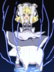 1girl arms_up blonde_hair braid hat highres jeno kirisame_marisa open_mouth sheep side_braid sparks summoning touhou witch_hat yellow_eyes