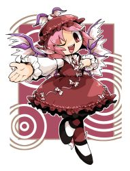 1girl bird_wings brown_dress chibi dress frilled_skirt frills hand_on_own_chest hat long_sleeves mystia_lorelei one_eye_closed open_mouth ota's outstretched_hand pink_hair red_background red_eyes short_hair skirt solo standing_on_one_leg touhou wings