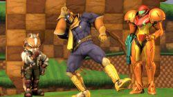 3d animated animated_gif captain_falcon dancing f-zero fox_mccloud metroid nintendo samus_aran star_fox super_smash_bros. tagme