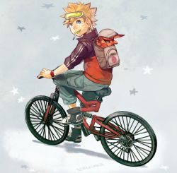 backpack bicycle blonde_hair blue_eyes kurama_(naruto) lollipop looking_back naruto riding spiked_hair uzucake uzumaki_naruto whiskers wristband
