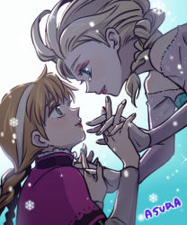 2girls anna_(frozen) asura_(chowollee) asura_(pixiv1443337) bad_id blonde_hair braid elsa_(frozen) eye_contact floating frozen_(disney) hand_holding incest incipient_kiss interlocked_fingers looking_at_another multiple_girls orange_hair siblings single_braid sisters tears twin_braids upper_body yuri