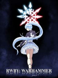 1girl artist_name belt blue_eyes crossover dark_background darkbearlab earrings fog glyph high_heels legs long_hair looking_at_viewer looking_back ponytail rapier rwby scar skirt steam warhammer_40k weiss_schnee white_hair