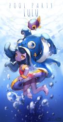 1girl animal_hat arm_floats artist_name artist_request barefoot black_hair casual_one-piece_swimsuit dated fish flat_chest gradient_background hat highres innertube league_of_legends looking_back lulu_(league_of_legends) one-piece_swimsuit purple_skin red_swimsuit solo swimsuit twitter_username underwater yellow_eyes