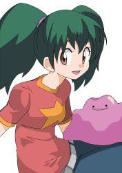 brown_eyes ditto green_hair hainchu imite_(pokemon) pokemon pokemon_(anime)