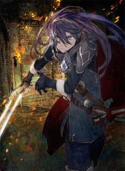 blue_eyes blue_hair broken_mask cape fingerless_gloves fire_emblem fire_emblem:_kakusei fire_emblem_cipher gloves highres holding holding_weapon jewelry long_hair looking_at_viewer lucina mask solo sword thighhighs tiara toi8 weapon