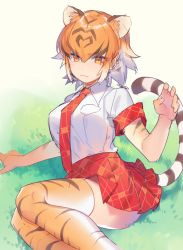 1girl :3 animal_ears animal_print breasts claw_pose collar collared_shirt gradient_hair grass hand_up heiwa_(murasiho) kemono_friends legs_together looking_at_viewer multicolored_hair necktie orange_eyes orange_hair outdoors plaid plaid_necktie plaid_skirt red_skirt shirt short_hair shorts sitting skirt solo streaked_hair striped striped_legwear striped_tail tail thighhighs tiger_(kemono_friends) tiger_ears tiger_print tiger_tail tsurime white_hair white_shirt