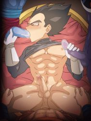 4boys abs animated animated_gif ass_juice black_hair bottomless dragonball_z drooling erection fellatio gangbang gloves group_sex handjob lying male_focus msucle multiple_boys muscle orgy pecs penis pov saliva sex spitroast sucking testicles vegeta yaoi