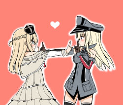 2girls atsushi_(aaa-bbb) bare_shoulders bismarck_(kantai_collection) blonde_hair blush braid breasts brown_gloves corset crown detached_sleeves dress eye_contact french_braid from_side gloves hairband hat heart jewelry kantai_collection koi_dance long_hair long_sleeves looking_at_another military military_hat military_uniform mini_crown multiple_girls necklace off-shoulder_dress off_shoulder parody peaked_cap red_ribbon ribbon simple_background smile thighhighs uniform upper_body warspite_(kantai_collection) white_background white_dress