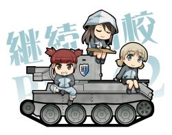 3girls aki_(girls_und_panzer) bangs blonde_hair blunt_bangs brown_eyes brown_hair bt-42 chibi commentary_request emblem eyebrows_visible_through_hair eyes_closed girls_und_panzer green_eyes grin ground_vehicle hands_in_pockets haniwa_(leaf_garden) hat instrument jacket kantele keizoku_(emblem) keizoku_school_uniform long_hair long_sleeves looking_at_viewer low_twintails mika_(girls_und_panzer) mikko_(girls_und_panzer) military military_vehicle motor_vehicle multiple_girls music pants pants_under_skirt playing_instrument pleated_skirt short_hair short_twintails sidelocks sitting sitting_on_object skirt smile tank track_jacket track_pants twintails white_background