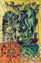 1boy bruce_banner destruction glowing_eyes green_skin hulk imaishi_hiroyuki marvel muscle official_art shirtless simple_background transformation