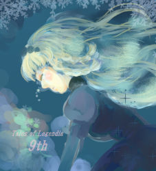 1girl blonde_hair blue_background blush braid breasts copyright_name dress eyes_closed flower hairband long_hair rose shirley_fennes snowflakes tales_of_(series) tales_of_legendia tears