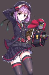 1girl 2boys absurdres bag black_legwear book briefcase fate/apocrypha fate/grand_order fate_(series) flat_chest hat helena_blavatsky_(fate/grand_order) highres karna_(fate) keychain looking_at_viewer multiple_boys purple_eyes purple_hair saiki_rider salute school_uniform short_hair simple_background smile solo_focus thighhighs thomas_edison_(fate/grand_order) tree_of_life white_hair