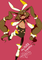 1girl :d blush brown_hair brown_sclera character_name female long_hair lopunny navel panties pantyhose personification pokemon red_eyes side-tie_panties solo thigh_gap torn_pantyhose very_long_hair yagami_eiichi