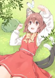 1girl :d ahoge akagashi_hagane animal animal_ears arm_up brown_eyes brown_hair butterfly cat_ears cat_tail chen clenched_hands dot_nose eyebrows_visible_through_hair eyelashes fangs fingernails frilled_hat frills grass green_hat hair_between_eyes hat hat_removed headwear_removed long_sleeves looking_up lying mob_cap multiple_tails neck_ribbon on_back open_mouth outdoors paw_pose plant red_shirt red_skirt ribbon sanpaku shirt short_hair skirt skirt_set sleeveless sleeveless_shirt smile tail tareme touhou two_tails white_shirt yellow_ribbon