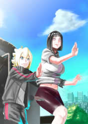 1boy 1girl absurdres bike_shorts breasts cloud day exercise highres hoodie hyuuga_hinata large_breasts milf mother_and_son naruto navel outside sky track_pants track_suit uzumaki_boruto