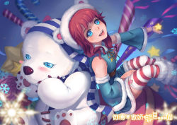 1girl alternate_costume animal_hood annie_hastur bear bear_hood between_legs blue_eyes blush breasts candy candy_cane destincelly detached_sleeves frostfire_annie garter_straps hand_between_legs hat highres hood league_of_legends looking_up open_mouth outstretched_hand polar_bear red_hair scarf sitting small_breasts snowflakes star stitches striped striped_legwear striped_scarf thighhighs tibbers