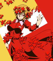 1girl aki_shizuha blonde_hair hair_ornament highres leaf long_skirt maple_leaf red_eyes short_hair skirt solo tenohira touhou