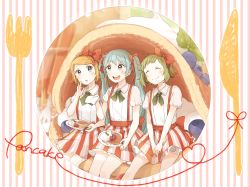 3girls :d :o :t ^_^ aqua_eyes aqua_hair between_legs blonde_hair blueberry blush bow cream eyes_closed food food_on_face fork fruit green_hair gumi hair_bow hair_ribbon hairband hand_between_legs hatsune_miku in_food kagamine_rin kana_(okitasougo222) long_hair multiple_girls napkin open_mouth oversized_object pancake plate puffy_short_sleeves puffy_sleeves ribbon short_hair short_sleeves skirt smile strawberry suspender_skirt suspenders twintails vertical-striped_skirt vertical_stripes vocaloid