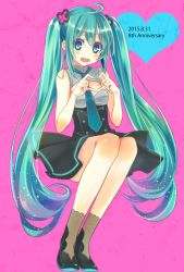 1girl 2015 ahoge aqua_eyes aqua_hair dated dress hatsune_miku long_hair looking_at_viewer mikipa nail_polish necktie open_mouth pink_background simple_background sitting socks solo twintails very_long_hair vocaloid