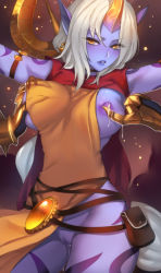 1girl breasts breasts_outside cleavage clitoris hands highres hooves horn jewelry lactation large_breasts league_of_legends lips long_hair looking_at_viewer nipples no_bra no_panties parted_lips pd_(pdpdlv1) pd_(pixiv) pointy_ears ponytail purple_skin pussy_juice pussy_juice_trail soraka staff very_long_hair warwick white_hair yellow_eyes