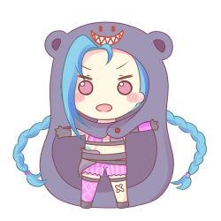 1girl blue_hair blush chibi cosplay himouto!_umaru-chan jinx_(league_of_legends) league_of_legends long_hair pink_eyes shorts single_thighhigh tattoo twin_braids very_long_hair