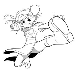 1girl boots bracelet bun_cover chun-li clenched_hand double_bun fighting_stance full_body jewelry kicking mary_cagle monochrome puffy_short_sleeves puffy_sleeves short_sleeves solo spiked_bracelet spikes street_fighter street_fighter_ii_(series)